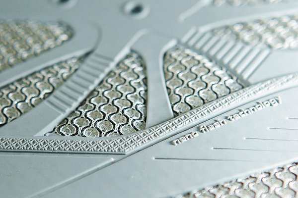 High-definition polyurethane injection technology for the manufacture of seamless footwear. Less is more